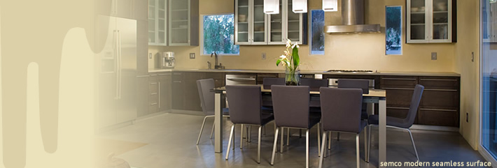 Gray dining room concrete floor