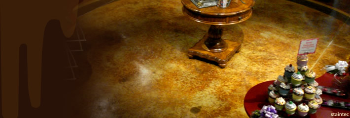 Brown stained concrete floor